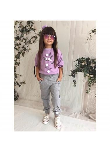 Quzucuk Kids Kız Çocuk Pamuk Figürlü Mor Eşofman Takımı Renkli